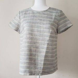 CLUB MONACO Tweed Top with faux leather trim